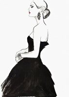 Elegant haughty woman wearing strapless black evening gown