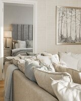 Collection of scatter cushions on couch and view into elegant bedroom