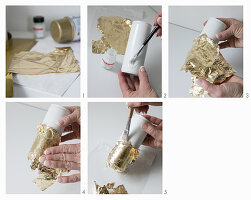 Hand-crafting vases: decorating drinks can sprayed white with gold leaf