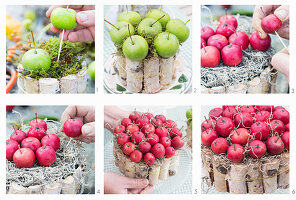 Instructions for making cake-shaped arrangements of natural materials