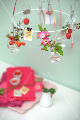 Floral decorations using wild roses and rose hips