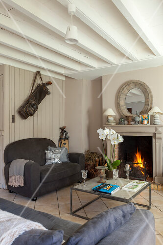 A traditional stone farm house in Normandy, France, is now an elegant home