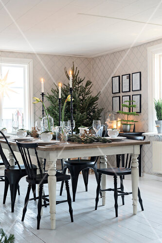 Christmas in Sweden with fresh green decoration from the forest