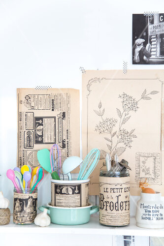 DIY project using vintage French paper products