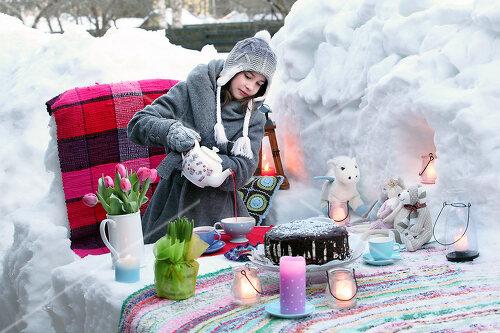 Dick eingepackt mit vielen Kerzen und heißem Punsch wird die Outdoor Teestunde zum Genuss