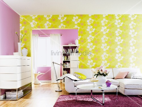 Living Room With White Furniture Lilac Wall And Yellow Wallpaper With Large Floral Pattern