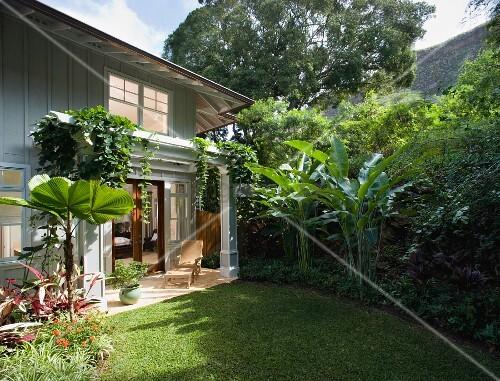 berdachte terrasse einer eleganten landhausvilla mit bananenstauden im garten bild kaufen. Black Bedroom Furniture Sets. Home Design Ideas
