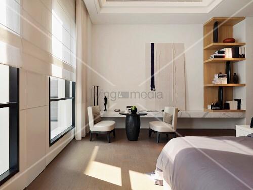 kleine sitzecke vor marmor wandboard im weiss schwarzen. Black Bedroom Furniture Sets. Home Design Ideas