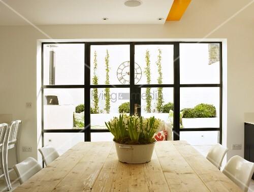 Sprossenfenster modern  Blumentopf auf rustikalem Holztisch vor schwarzem Sprossenfenster ...