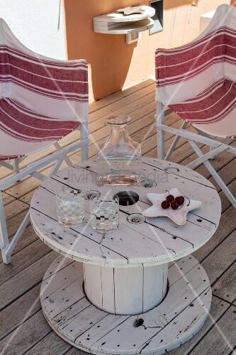 recycling tisch aus alter kabeltrommel auf holzterrasse. Black Bedroom Furniture Sets. Home Design Ideas