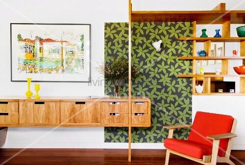 schwebendes sideboard und offenes regal in wand ffnung. Black Bedroom Furniture Sets. Home Design Ideas