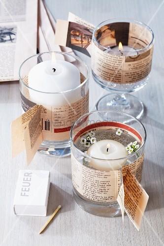 Windlichter aus trinkgl sern dekoriert mit zeitungspapier - Bilder mit zeitungspapier ...