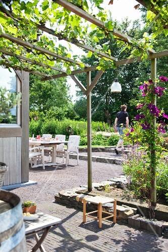 gepflasterte terrasse mit berankter pergola im