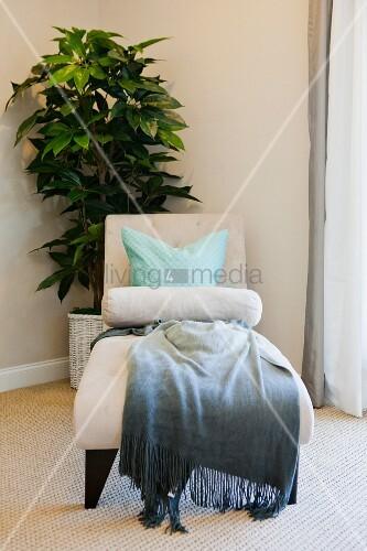 gr npflanze loungesessel mit kissen und decke in. Black Bedroom Furniture Sets. Home Design Ideas
