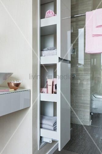 apothekerauszug mit badutensilien vor dusche mit glasabtrennung in modernem bad bild kaufen. Black Bedroom Furniture Sets. Home Design Ideas