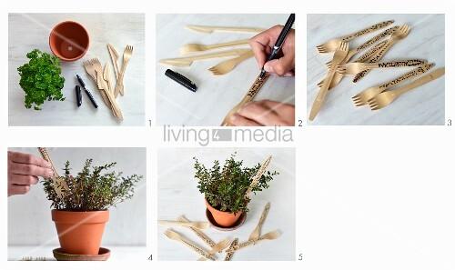 pflanzenschilder aus holz einwegbesteck herstellen bild kaufen living4media. Black Bedroom Furniture Sets. Home Design Ideas