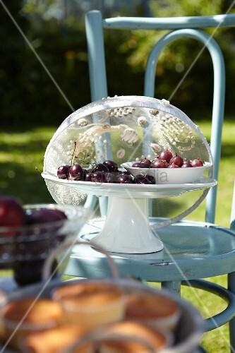 Sommerfr chte unter dekorativer fliegenhaube auf stuhl im - Gartentischchen metall ...
