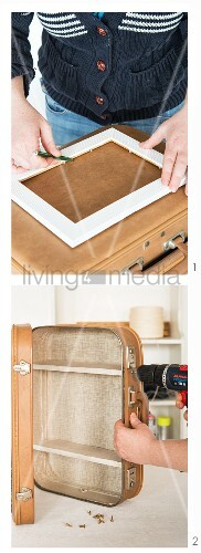 A bathroom cabinet being made from an old suitcase