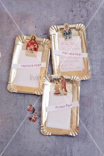 Vergoldete Weihnachtsgrüsse aus Kuchenpappe & Heiligenoblaten