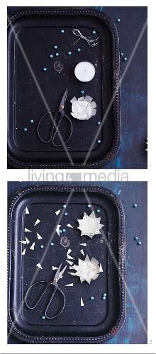 Eisblumen-Sterne als Aufhänger aus Teelichtern basteln