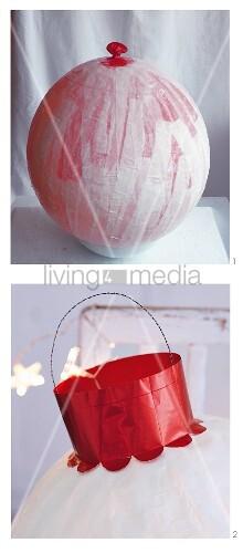 christbaumkugel aus luftballon seidenpapier basteln. Black Bedroom Furniture Sets. Home Design Ideas