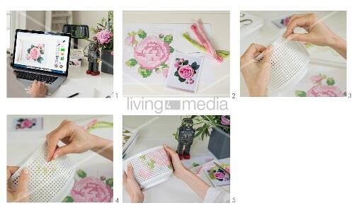 Porzellanschale mit Rosenmuster besticken