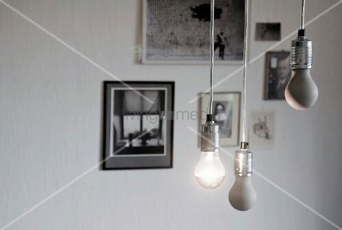 Selbstgemachte gl hbirnen aus beton als zimmerdekoration for Zimmerdekoration