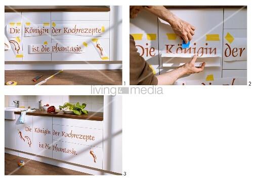 Küchenfronten mit Klebebuchstaben aufpeppen