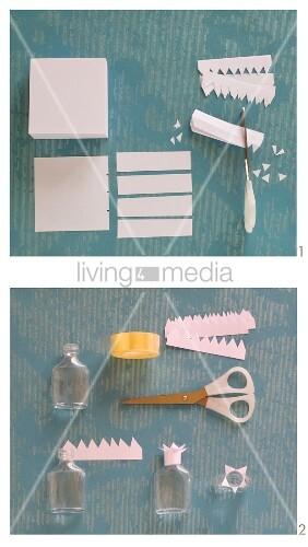 Papiermanschette für Flaschenhals basteln
