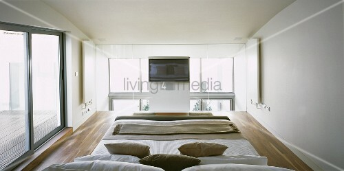 Sleeping Area In A Mezzanine In A Modern Newly Built Home