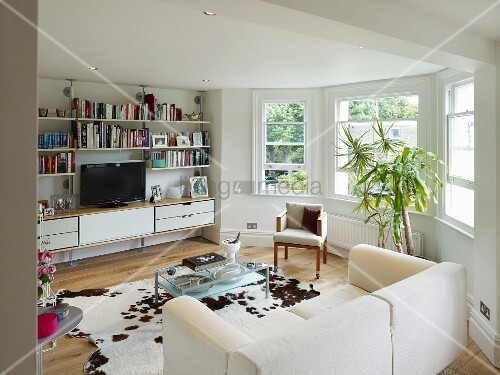Modern living room with traditional bay window and cow ...