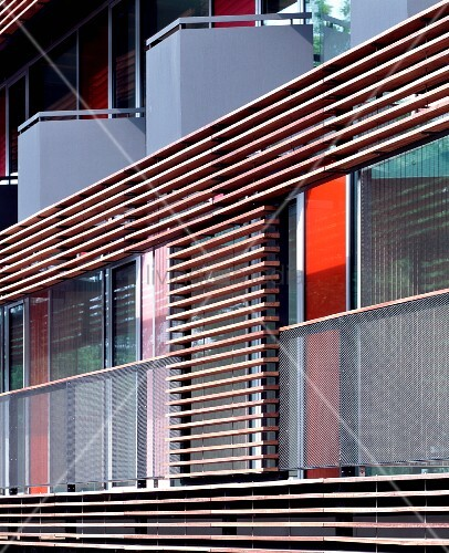 Wooden Cladding Horizontal ~ Modern house facade with balcony and horizontal wooden