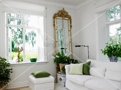 White sofa house plants and gilt framed full length for Full length mirror in living room