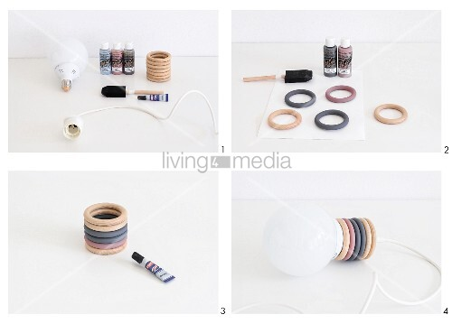 Instructions for making pendant lamps from curtain rings in various colours