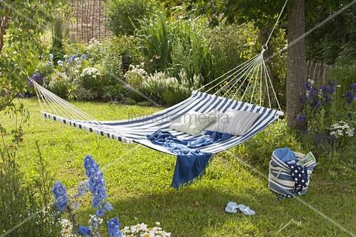 h ngematte zwischen b umen aufgeh ngt beet mit stauden und gr sern bild kaufen living4media. Black Bedroom Furniture Sets. Home Design Ideas