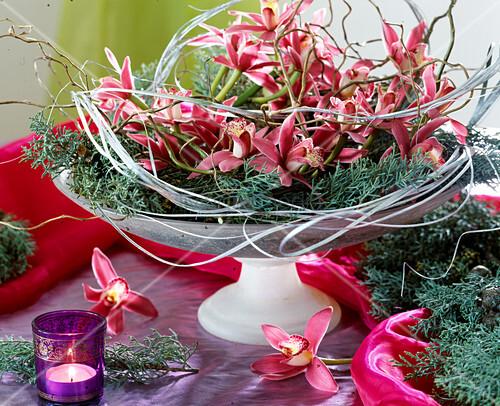 schale mit orchideenbl ten bild kaufen living4media. Black Bedroom Furniture Sets. Home Design Ideas