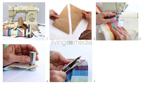 anleitung f r ein gestreiftes sonnensegel aus stoff bild. Black Bedroom Furniture Sets. Home Design Ideas