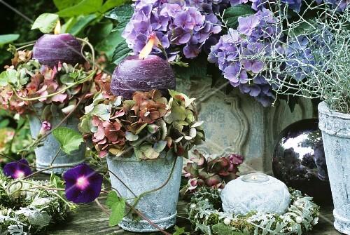 Herbstliche hortensiendeko bild kaufen living4media for Herbstliche gartendeko