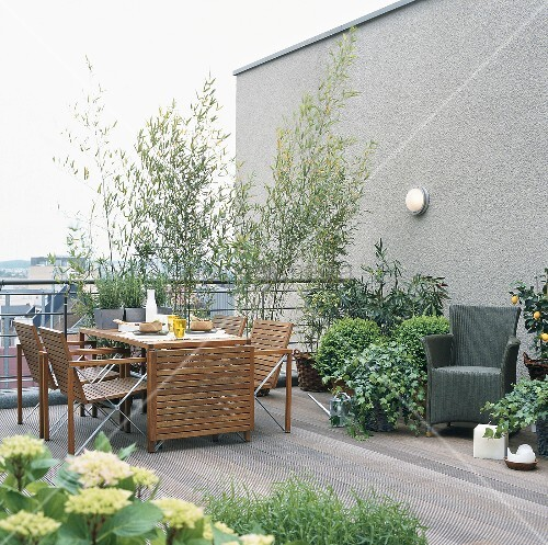 gedeckter tisch und pflanzen auf einer terrasse bild kaufen living4media. Black Bedroom Furniture Sets. Home Design Ideas