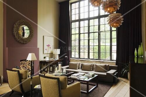 sessel im art dekostil vor atelierfenster mit schwarzem. Black Bedroom Furniture Sets. Home Design Ideas