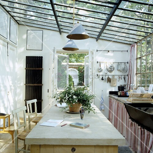 A Simple Country House Kitchen In A Glass Annexe
