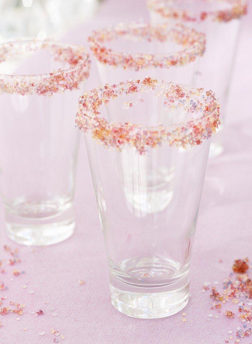 Glasses with sugared rims