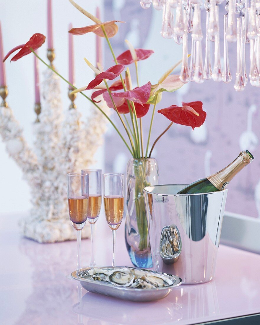 Sparkling wine and flowers in a vase