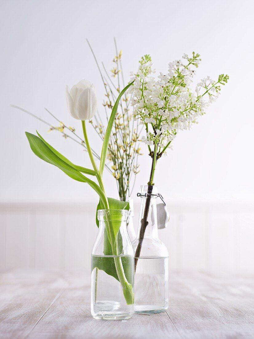 Easter flowers in bottles