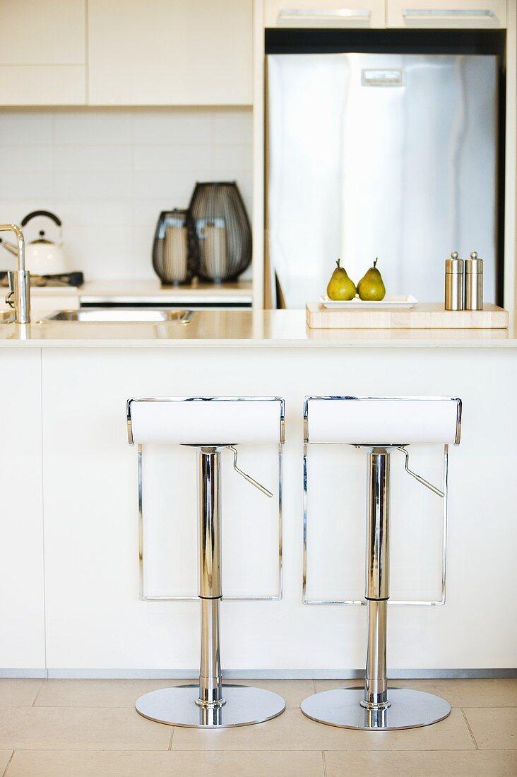 Kitchen with white furniture