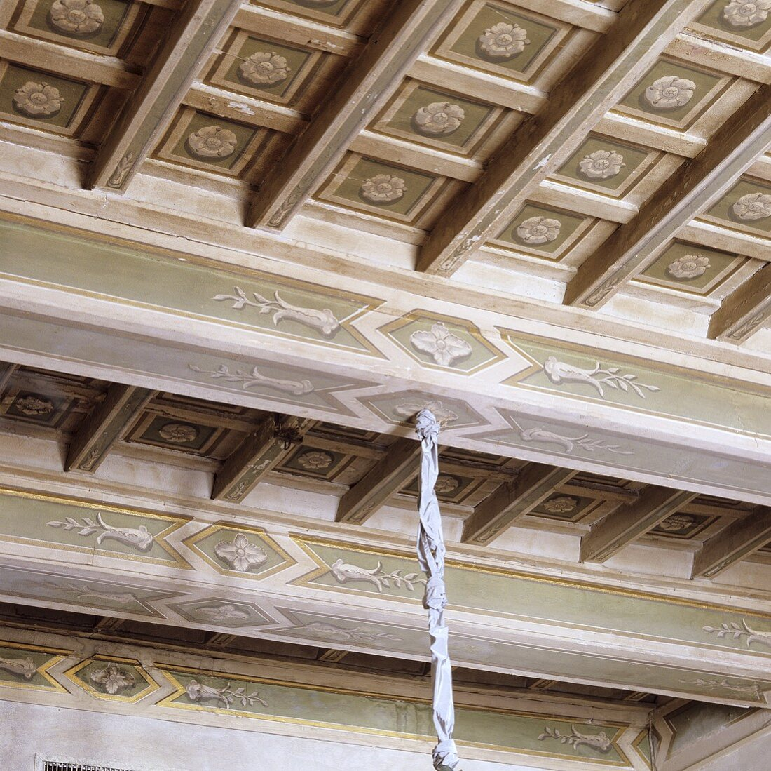 A painted coffered ceiling in a palazzo
