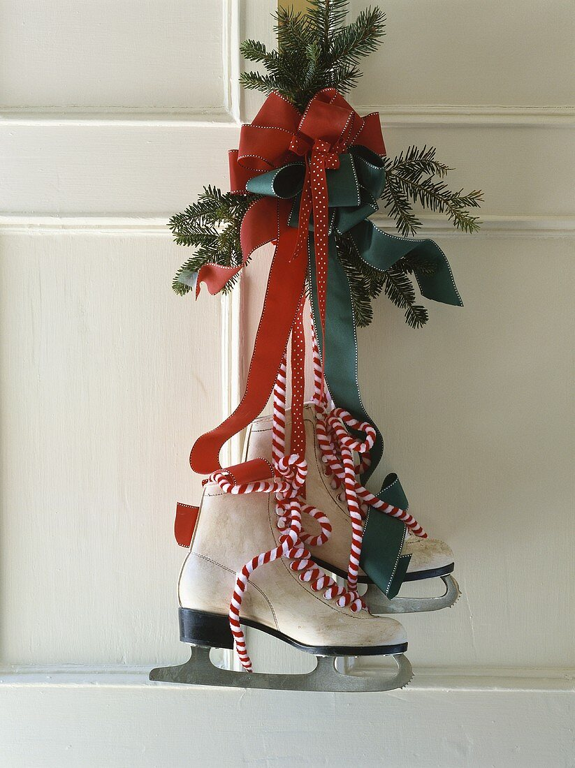 Christmas door decoration with skates