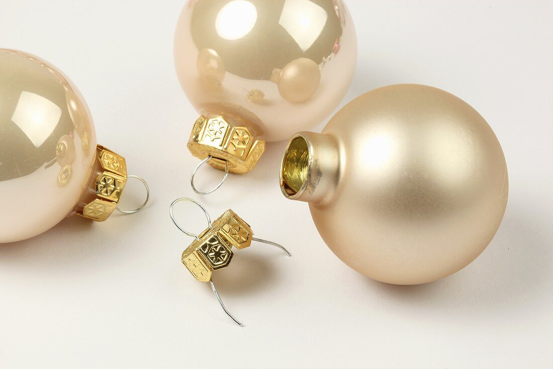 Pink Christmas baubles with hooks