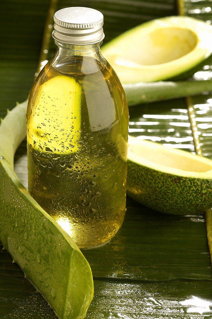 Aloe vera and avocado with beauty care oil