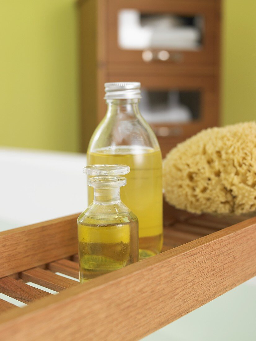 Bath oil on bath rack